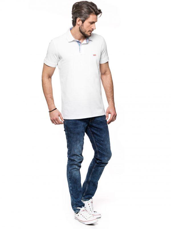 Koszulka polo Improve biała z wykończeniami w kratę