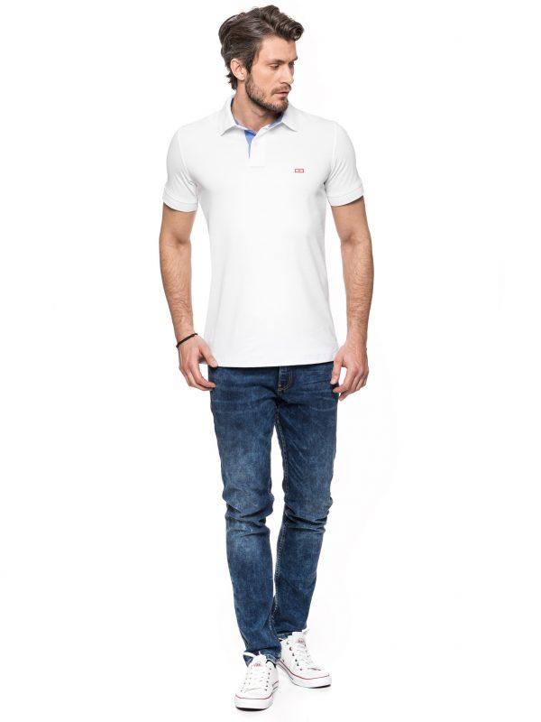 Koszulka polo - biała jeans