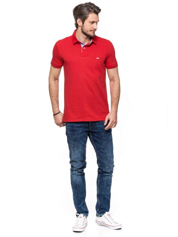 Koszulka Improve czerwona z wykończeniem jeansowym