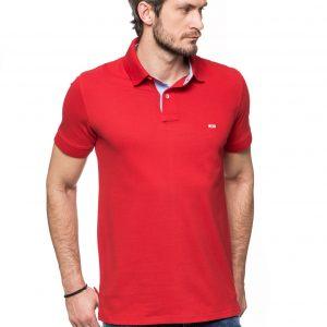 Koszulka Improve - czerwona z wykończeniem jeansowym