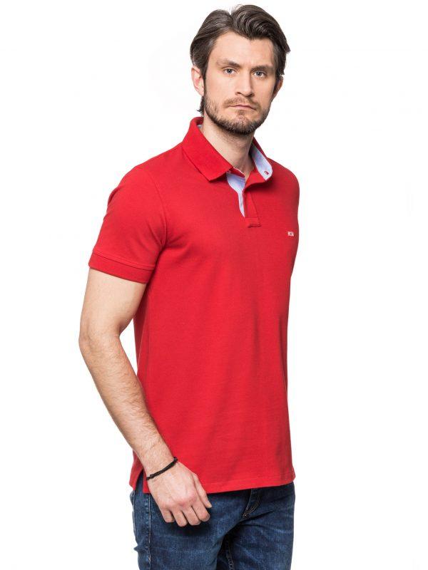 Koszulka polo czerwona z wykończeniem jeansowym