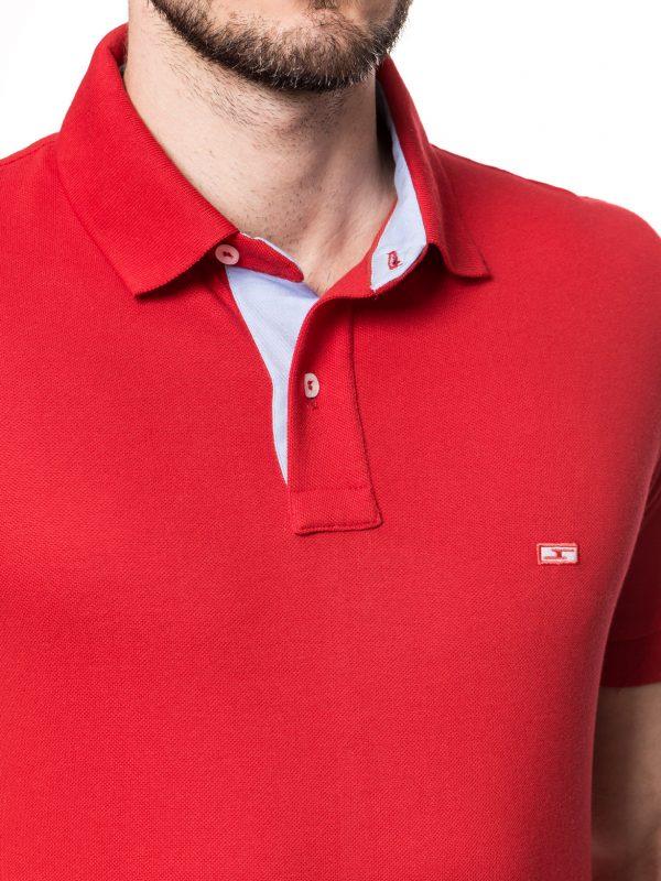 Koszulka polo Improve czerwona z wykończeniem w kolorze jeansu