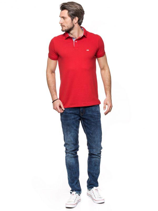 Koszulka polo Improve czerwona z wykończeniem w kratkę