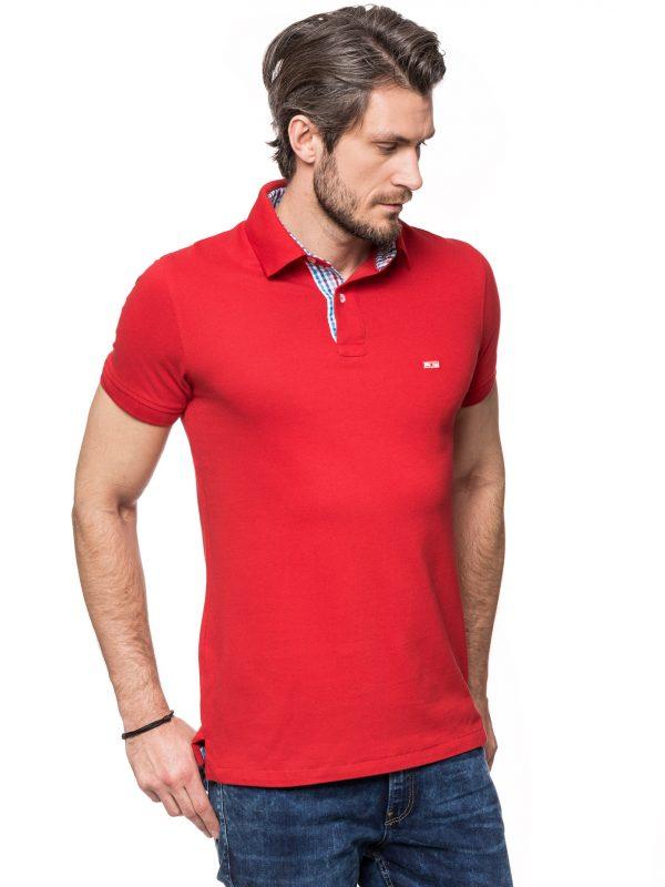 Koszulka polo Improve czerwona z niebiesko czerwoną kratką