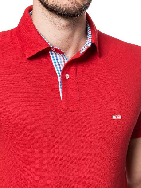 Koszulka polo czerwona z wykończeniem w kratkę