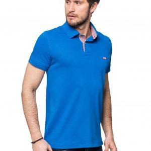 Koszulka polo Improve niebieska z wykończeniem w czerwoną krateczkę