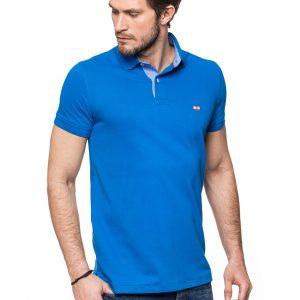Koszulka polo Improve z wykończeniem w kolorze jeansowym