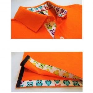 KOSZULKA POLO – pomarańczowa z wykończeniem w kolorowe sowy