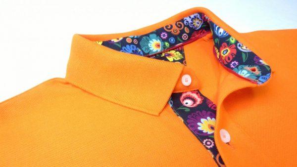 KOSZULKA POLO – pomarańczowa z wykończeniem wzorem łowickim, Łowicz